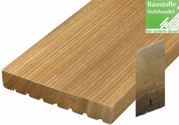 Bangkirai System Terrassendiele 25x145mm fein/grob Nut+Feder Kopfseitig zur Endlosverlegung