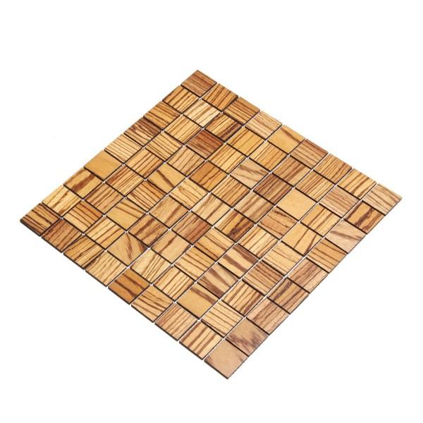 Wodewa Holz Mosaik Fliesen Zebrano 28,8 x 28,8cm in zwei Formaten
