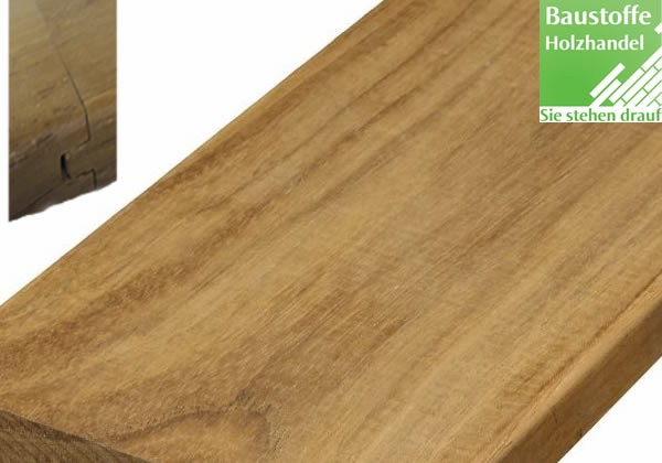 Teak System Terrassendiele 21x120mm glatt oder gerillt, Nut und Feder Kopfseitig