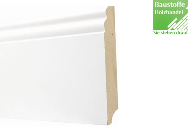 Sockelleiste Weiß deckend MDF Kern 19x120mm Hamburger Profil