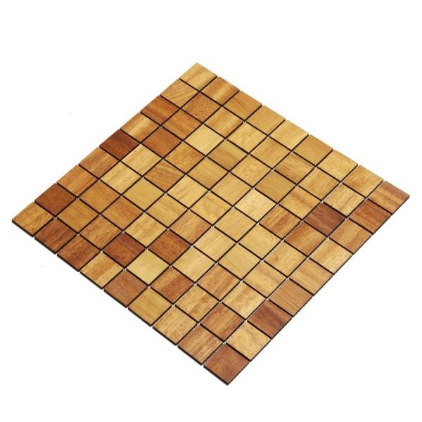 Wodewa Holz Mosaik Fliesen Iroko 28,8 x 28,8cm in zwei Formaten