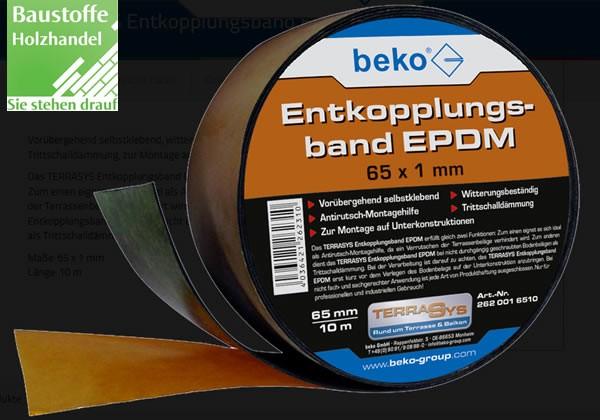 EPDM Entkopplungsband für Unterkonstruktionen Rolle 10m