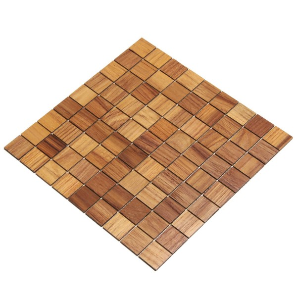 Wodewa Holz Mosaik Fliesen Teak 28,8 x 28,8cm in zwei Formaten