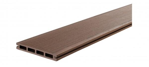 WPC BasicDeck Comfort Braun 20x145mm in glatt und geriffelt