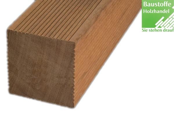 Bangkirai Yellow Ballau Holz Unterkonstruktion 90x90mm fein geriffelt, glatt