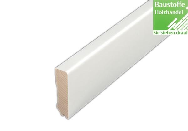 Sockelleiste Massiv Kiefer weiß beschichtet 16 x 58mm
