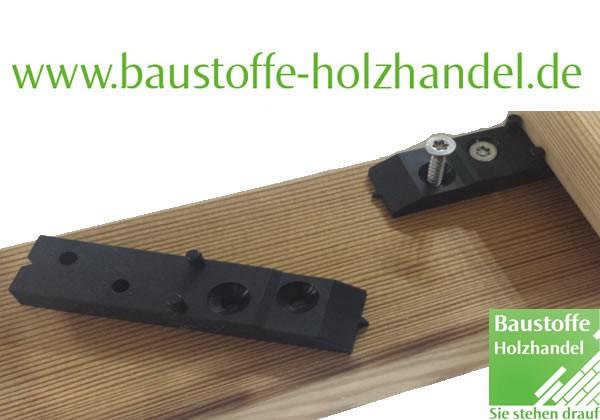 unsichtbare Terrassendielen Befestigung Spezial-Kunststoff für Holz- und Aluminium Unterkonstruktion