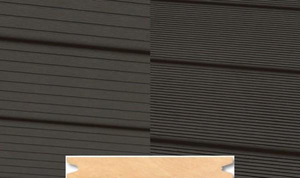 Massiv WPC Terrassendiele 22 x 143mm Dunkelgrau gerillt/genutet in 4 Längen