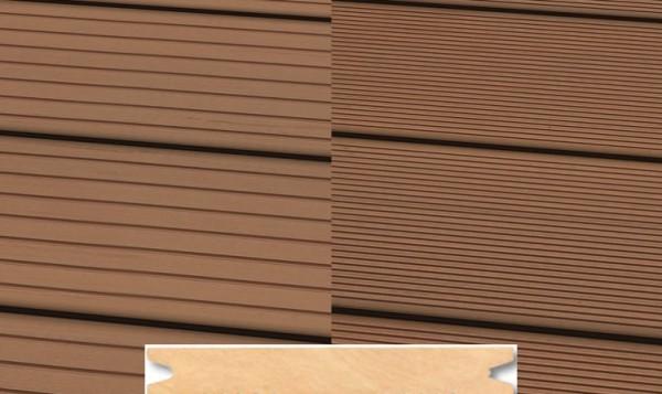 Massiv WPC Terrassendiele 22 x 143mm Hellbraun gerillt/genutet in 4 Längen