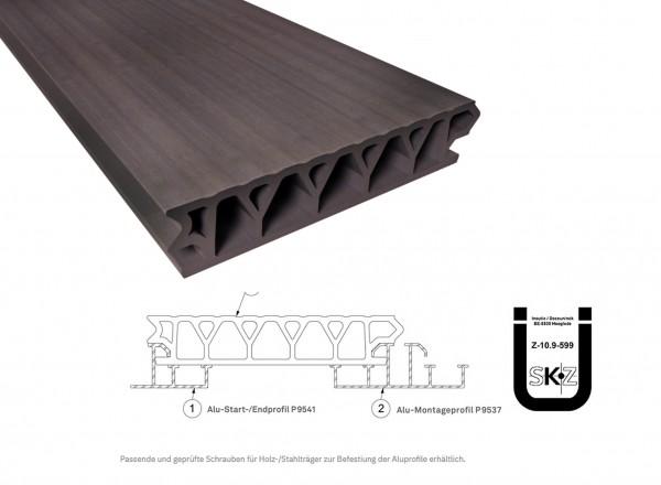 Twinson Terrace Plus Haselnussbraun 32 x 167mm mit bauaufs. Zulassung in 4,5m und 6m Längen