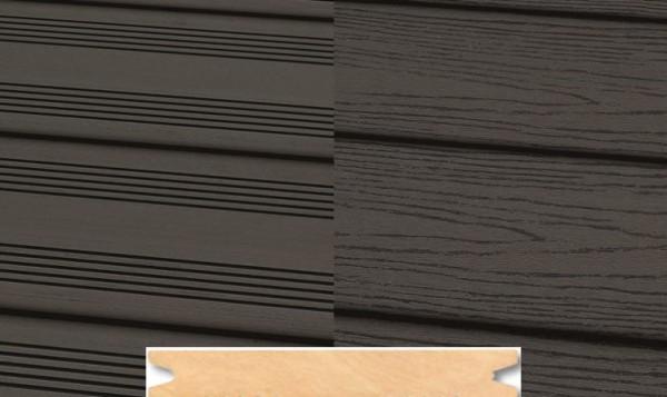 Massiv WPC Terrassendiele 22 x 143mm Dunkelgrau französich / strukturiert in 4 Längen