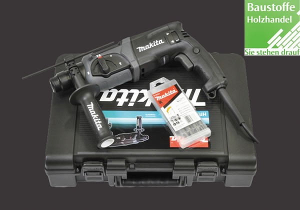 Makita Kombihammer für SDS-PLUS 24 mm, Typ: HR2470BX40 Zum Bohren, Hammerbohren und Meißeln inkl. Transportkoffer, Tiefenanschlag SDS-Plus Bohrer-Set 5-teilig