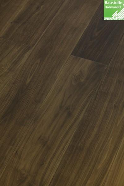 Landhausdiele 3-Schicht Nussbaum amerik. elegant-natur 14x190mm umlaufd .Klick Verbindung und Fase