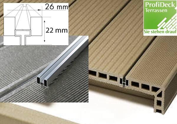 UPM ProFi Deck 150 Alurailschiene zur geschlossenen Dielenverlegung