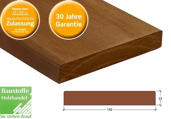Kebony Clear Terrassendiele 22x142mm ungenutet mit Bauaufsichtlicher Zulassung