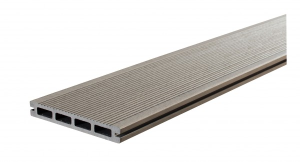 WPC BasicDeck Comfort Grau 20x145mm in glatt und geriffelt-Copy