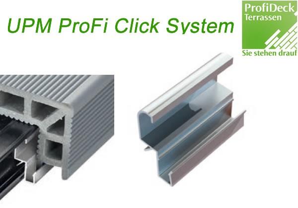 UPM ProFi Click Rail Step Clip wird zu Befestigung der UPM Treppenstufen/Winkelprofil Diele verwendet.