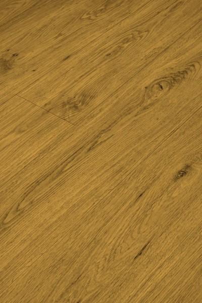 Klick-Vinyl Holz Braun mit gefaster Kante umlaufend und integrierter Trittschalldämmung