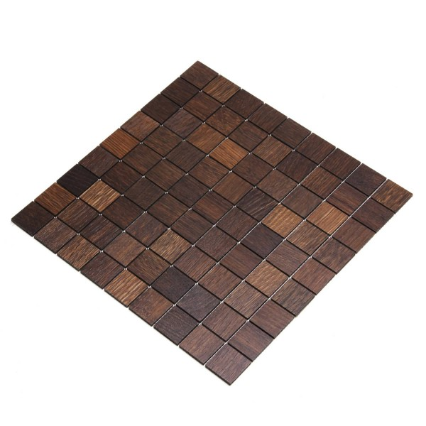 Wodewa Holz Mosaik Fliesen Eiche Tabak 28,8 x 28,8cm in zwei Formaten