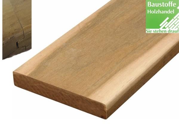 Curupau System Terrassendiele 21x100mm glatt, Nut und Feder Kopfseitig
