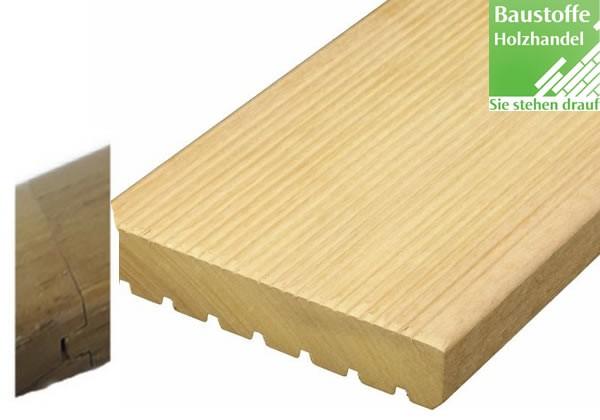 Garapa System Terrassendiele 25x145mm fein-grob geriffelt, Nut und Feder kopfseitig zur Endlosverlegung