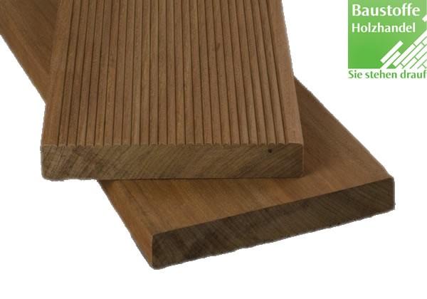 Ipe Terrassendiele 21x145mm einseitig fein geriffelt / einseitig glatt gehobelt