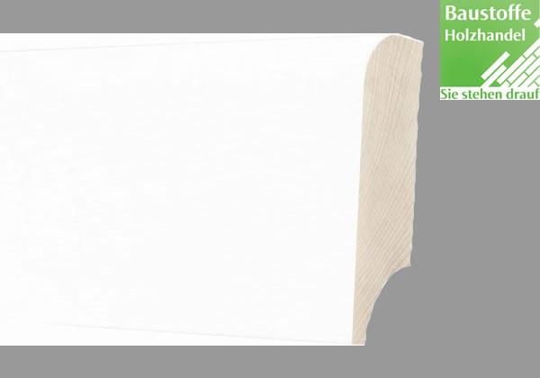 Sockelleiste Massivholz Kiefer Weiß deckend 18 x 78mm