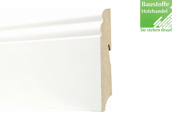 Sockelleiste Weiß deckend MDF Kern 19x100mm Hamburger Profil
