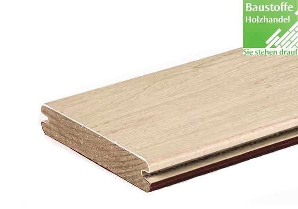 Timbertech Massivdiele Whitewash Cedar, Kollektion Legacy, 24x136mm seiltlich genutet (auch ungenute)
